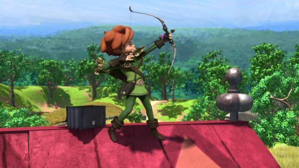 Robin Hood zielt genau. | Rechte: ZDF/Method Animation/DQ Entertainment/Fabrique d'images/ZDF Enterprises/De Agostini