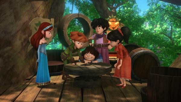 Robin Hood hat einen Brief vom König bekommen. Robin, Tuck und Little John sind begeistert. Marian (li.) und Scarlett (re.) vermuten eine Falle. | Rechte: ZDF/Method Animation/DQ Entertainment/Fabrique d'images/ZDF Enterprises/De Agostini