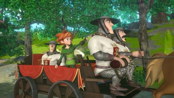 Die Soldaten sind auf einmal ganz freundlich. Sie hofieren Robin Hood, der Königspost erhalten hat. | Rechte: ZDF/Method Animation/DQ Entertainment/Fabrique d'images/ZDF Enterprises/De Agostini
