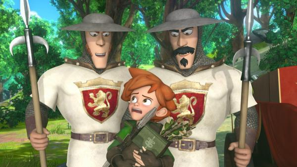 Robin Hood ist in Not. Er ist in Prinz Johns Falle getappt. Die Soldaten haben ihn überrumpelt. | Rechte: ZDF/Method Animation/DQ Entertainment/Fabrique d'images/ZDF Enterprises/De Agostini