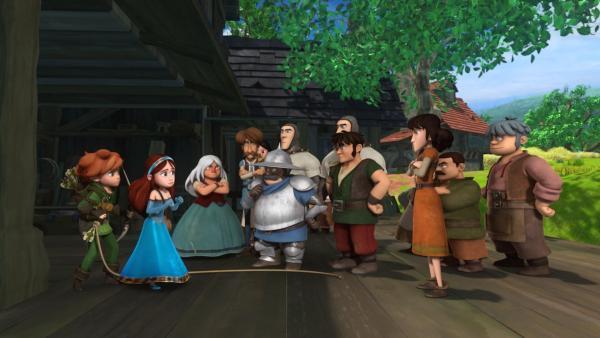 Der Sheriff und die Dorfbewohner haben Robin Hood gestellt. Marian verteidigt ihn und beteuert seine Unschuld. | Rechte: ZDF/Method Animation/DQ Entertainment/Fabrique d'images/ZDF Enterprises/De Agostini