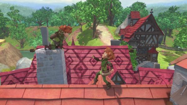 Verfolgungsjagd über den Dächern Nottinghams: Doch wer ist jetzt der echte Robin Hood? | Rechte: ZDF/Method Animation/DQ Entertainment/Fabrique d'images/ZDF Enterprises/De Agostini