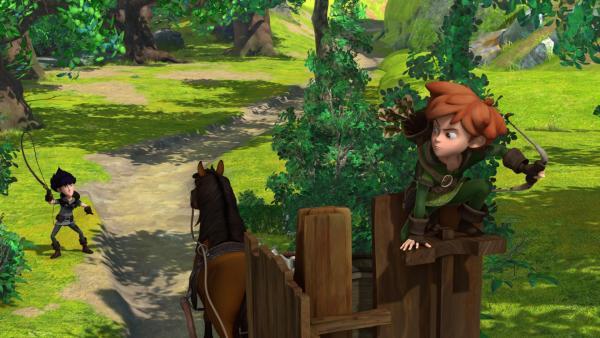Robin Hood wird von Hyänen-Harry, dem besten Spurenleser des Königreichs verfolgt.   Rechte: ZDF/Method Animation/DQ Entertainment/Fabrique d'images/ZDF Enterprises/De Agostini