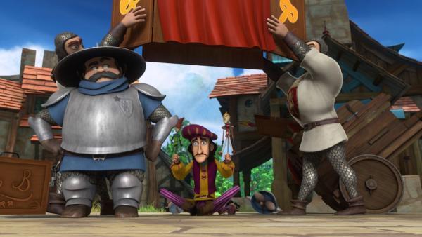 Der Sheriff beschlagnahmt alle Puppen, weil der Puppenspieler sich mit seinen Figuren über ihn lustig gemacht hat. | Rechte: ZDF/Method Animation/DQ Entertainment/Fabrique d'images/ZDF Enterprises/De Agostini