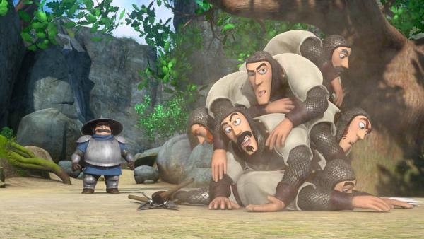 Der Sheriff ist fassungslos. Seine Männer hatten keine Chance gegen Robin Hood. | Rechte: ZDF/Method Animation/DQ Entertainment/Fabrique d'images/ZDF Enterprises/De Agostini