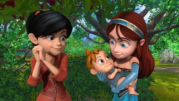 Scarlett und Marian bestaunen verzückt das Baby, das Lady Sable bei ihrer Flucht vor dem Sheriff versteckt hat. | Rechte: ZDF/Method Animation/DQ Entertainment/Fabrique d'images/ZDF Enterprises/De Agostini