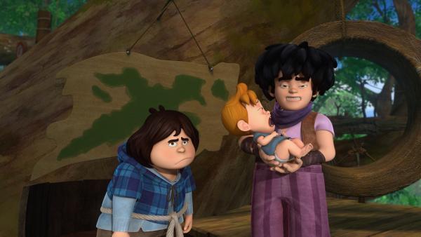Tuck und Little John sind sichtlich genervt vom weinenden Baby, für das sie die Beschützerrolle übernommen haben. | Rechte: ZDF/Method Animation/DQ Entertainment/Fabrique d'images/ZDF Enterprises/De Agostini