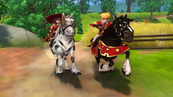Natürlich will Prinz John der Sieger des Pferderennens sein. Doch in Robin Hood, der verkleidet teilnimmt, hat er einen starken Konkurrenten.   Rechte: ZDF/Method Animation/DQ Entertainment/Fabrique d'images/ZDF Enterprises/De Agostini