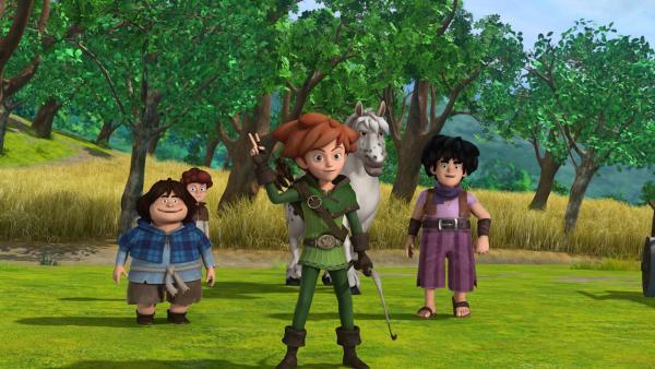 Robin Hood und seine Gefährten Tuck und Little John konnten erfolgreich den Sheriff und seine Männer verjagen, die das Pferd von Lubin beschlagnahmen wollten.   Rechte: ZDF/Method Animation/DQ Entertainment/Fabrique d'images/ZDF Enterprises/De Agostini