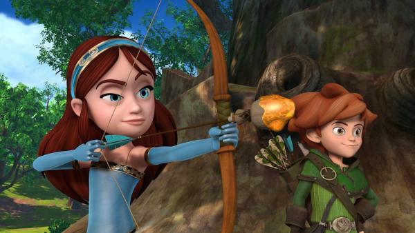 Sichtlich stolz führt Marian ihr Können mit Pfeil und Bogen Robin Hood vor.   Rechte: ZDF/Method Animation/DQ Entertainment/Fabrique d'images/ZDF Enterprises/De Agostini