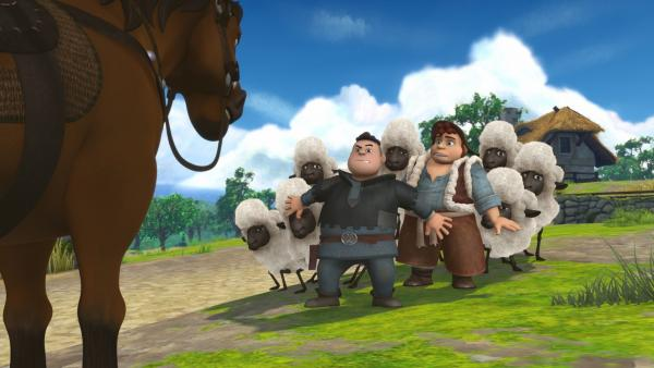 Ralf, einer der Söhne des Sheriffs, stellt sich schützend vor den Bauern. Doch seit wann will er die Dorfbewohner beschützen? | Rechte: ZDF/Method Animation/DQ Entertainment/Fabrique d'images/ZDF Enterprises/De Agostini