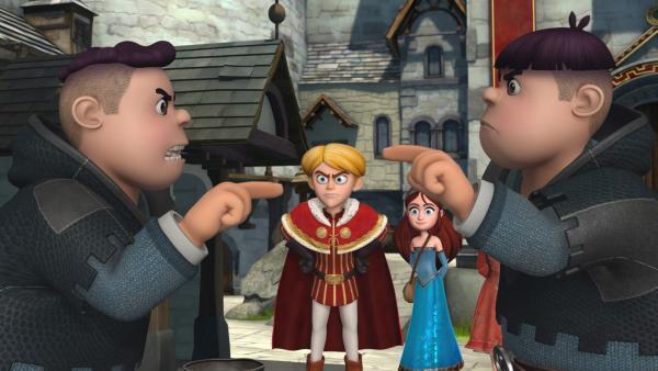 Prinz John ist wütend auf Ralf und Rolf. Marian und Scarlett sind froh, dass alles gut ausgegangen ist. | Rechte: ZDF/Method Animation/DQ Entertainment/Fabrique d'images/ZDF Enterprises/De Agostini