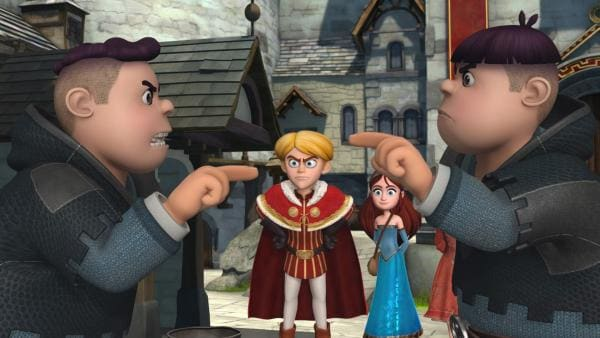 Prinz John ist wütend auf Ralf und Rolf. Marian und Scarlett sind froh, dass alles gut ausgegangen ist.   Rechte: ZDF/Method Animation/DQ Entertainment/Fabrique d'images/ZDF Enterprises/De Agostini