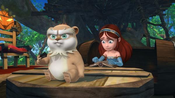 Marian ist auf der Suche nach einem Zauberspruch um Derke, den sie aus Versehen in einen Hamster verzaubert hat, wieder in einen Drachen zu verwandeln. | Rechte: ZDF/Method Animation/DQ Entertainment/Fabrique d'images/ZDF Enterprises/De Agostini