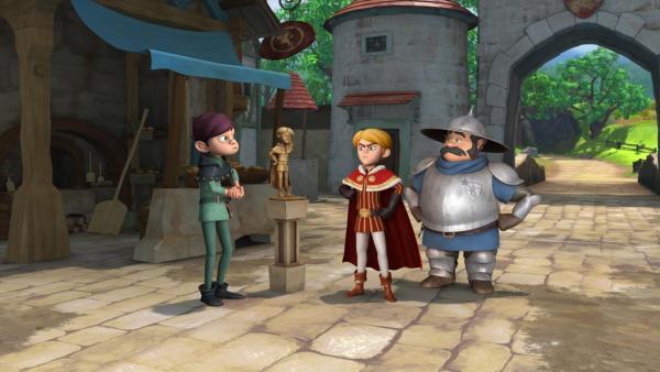 Der Bildhauer präsentiert Prinz John und dem Sheriff die Statue von Prinz John. Prinz John ist empört.   Rechte: ZDF/Method Animation/DQ Entertainment/Fabrique d'images/ZDF Enterprises/De Agostini