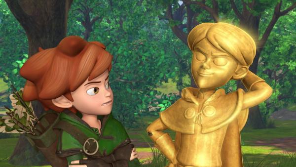 Wie kann Robin Hood den Dorfbewohnern ihr Gold zurückgeben, das Prinz John durch neu auferlegte Steuern für seine goldene Statue eingetrieben hat?   Rechte: ZDF/Method Animation/DQ Entertainment/Fabrique d'images/ZDF Enterprises/De Agostini