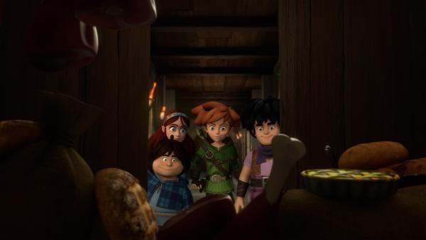 Tuck, Robin Hood, Little John und Scarlett haben die gefüllte Speisekammer des Prinzen gefunden.   Rechte: ZDF/Method Animation/DQ Entertainment/Fabrique d'images/ZDF Enterprises/De Agostini
