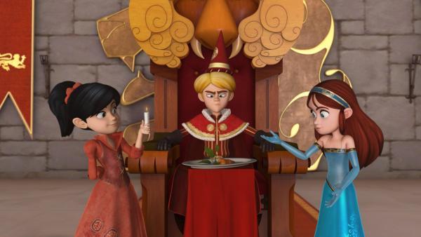 Prinz John hat Geburtstag. Trotz all seiner Pläne bleibt ihm zu seinem Übel nur eine Karotte. Scarlett und Marian gratulieren. | Rechte: ZDF/Method Animation/DQ Entertainment/Fabrique d'images/ZDF Enterprises/De Agostini