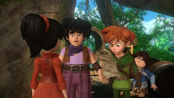 Scarlett zeigt Little John, Robin Hood und Tuck das Erpresserschreiben. Marian wurde auf dem Weg zu Robin von Banditen überfallen. | Rechte: ZDF/Method Animation/DQ Entertainment/Fabrique d'images/ZDF Enterprises/De Agostini
