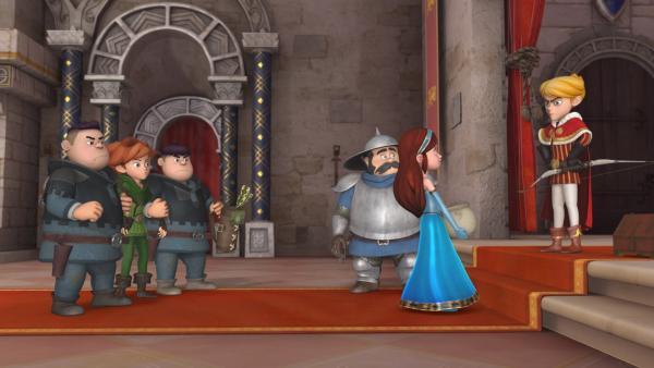 Dem Sheriff mit seinen Söhnen ist es gelungen, Robin Hood zu fangen. Bevor Prinz John ihn in den Kerker sperren kann, startet Marian ein Ablenkungsmanöver, um ihrem Freund zu helfen. | Rechte: ZDF/Method Animation/DQ Entertainment/Fabrique d'images/ZDF Enterprises/De Agostini