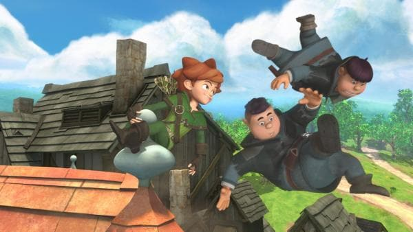 Rolf und Ralf, die Söhne des Sheriffs, fliegen beim Versuch Robin zu fangen durch die Luft. | Rechte: ZDF/Method Animation/DQ Entertainment/Fabrique d'images/ZDF Enterprises/De Agostini