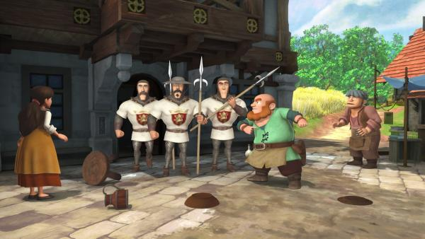 Auf der Suche nach Robin durchsuchen die Wachen jedes Haus der Dorfbewohner. | Rechte: ZDF/Method Animation/DQ Entertainment/Fabrique d'images/ZDF Enterprises/De Agostini