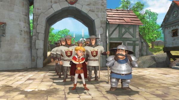 Prinz John lässt das Dorf umstellen. Er will Robin Hood mit der Kiste voll Gold finden, die Robin für Waisenkinder von den Bürgern gesammelt hat. | Rechte: ZDF/Method Animation/DQ Entertainment/Fabrique d'images/ZDF Enterprises/De Agostini