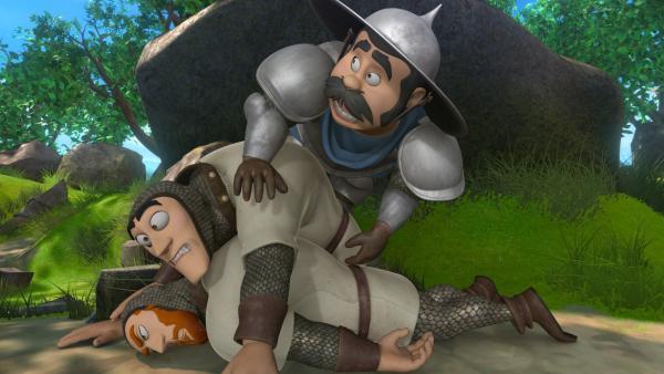 Als plötzlich vor dem Sheriff und seinen Männer ein Geist auftaucht, schlottern ihnen vor Angst die Knie. | Rechte: ZDF/Method Animation/DQ Entertainment/Fabrique d'images/ZDF Enterprises/De Agostini