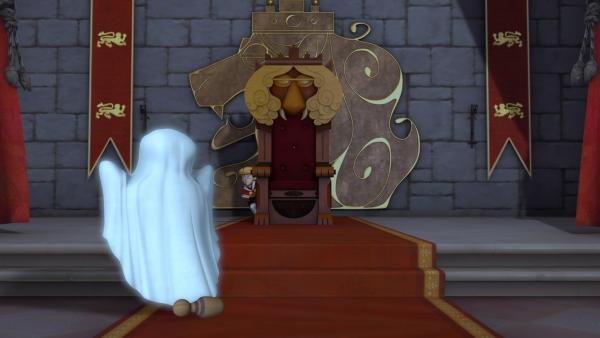 Ein Geist erscheint plötzlich mitten in der Nacht im Schloss. Prinz John versteckt sich. | Rechte: ZDF/Method Animation/DQ Entertainment/Fabrique d'images/ZDF Enterprises/De Agostini