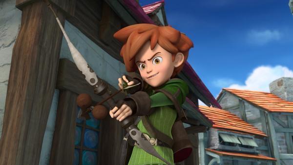 Robin Hood in seinem Element als Bogenschütze. Er kämpft für Gerechtigkeit. | Rechte: ZDF/Method Animation/DQ Entertainment/Fabrique d'images/ZDF Enterprises/De Agostini