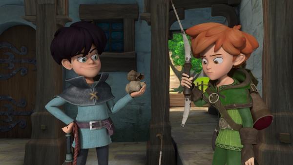 Ein Abenteurer taucht im Dorf auf. Robin Hood ist nun nicht mehr der einzige, der die Dorfbewohner vor dreisten Dieben beschützt.   Rechte: ZDF/Method Animation/DQ Entertainment/Fabrique d'images/ZDF Enterprises/De Agostini
