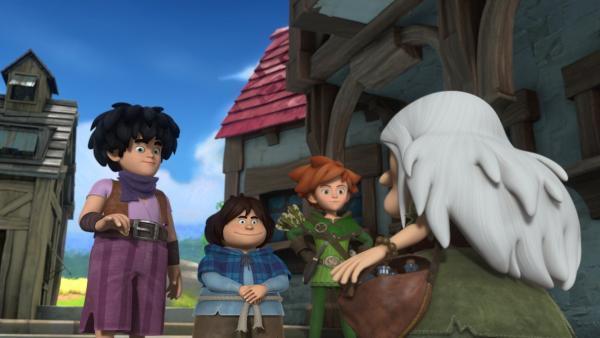 Little John, Tuck und Robin Hood stehen im Dorf einer alten Frau gegenüber. Diese sammelt mit einem Trick Glück von den Dörflern in Fläschchen ein. | Rechte: ZDF/Method Animation/DQ Entertainment/Fabrique d'images/ZDF Enterprises/De Agostini