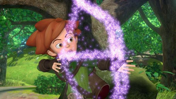 Pfeil und Bogen in Robin Hoods Händen verschwinden plötzlich. Daran ist ein missglückter Zauberspruch von Marian schuld.   Rechte: ZDF/Method Animation/DQ Entertainment/Fabrique d'images/ZDF Enterprises/De Agostini