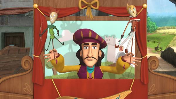 Der Puppenspieler Manolo Bacco bereitet sich auf seinen Auftritt vor.   Rechte: ZDF/Method Animation/DQ Entertainment/Fabrique d'images/ZDF Enterprises/De Agostini