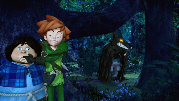 Robin Hood muss den verängstigten Tuck beruhigen. Sie sind dem Ungeheuer auf der Spur, das die Dorfbewohner in Angst und Schrecken versetzt. | Rechte: ZDF/Method Animation/DQ Entertainment/Fabrique d'images/ZDF Enterprises/De Agostini