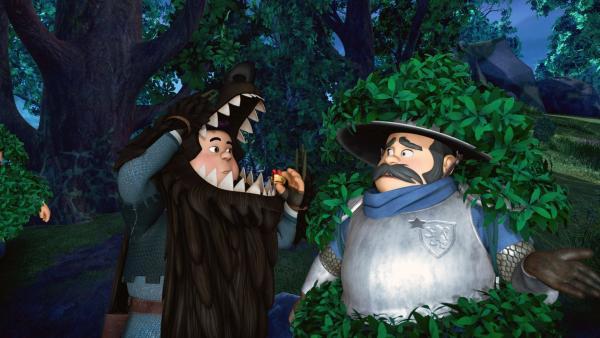 Der Sheriff bekommt Informationen von seinem Sohn, der sich als Werwolf verkleidet hat um so Robin Hood anzulocken. | Rechte: ZDF/Method Animation/DQ Entertainment/Fabrique d'images/ZDF Enterprises/De Agostini