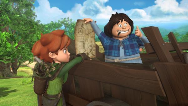 Robin Hood und Tuck helfen bei der Reparatur der Windmühle.   Rechte: ZDF/Method Animation/DQ Entertainment/Fabrique d'images/ZDF Enterprises/De Agostini