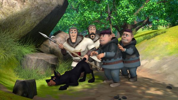 Hund Flynn, die Wachen und die Söhne des Sheriffs Ralf und Rolf entdecken auf ihrer Patrouille etwas Ungewöhnliches. | Rechte: ZDF/Method Animation/DQ Entertainment/Fabrique d'images/ZDF Enterprises/De Agostini