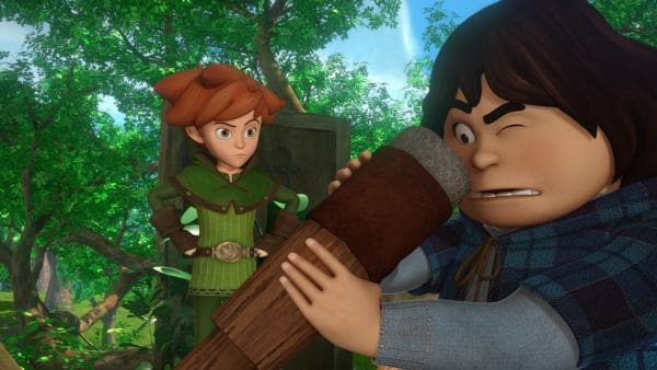 Robin Hood wundert sich, dass Tuck so weit sehen kann. Tuck erklärt ihm seine Erfindung: ein Fernglas. | Rechte: ZDF/Method Animation/DQ Entertainment/Fabrique d'images/ZDF Enterprises/De Agostini