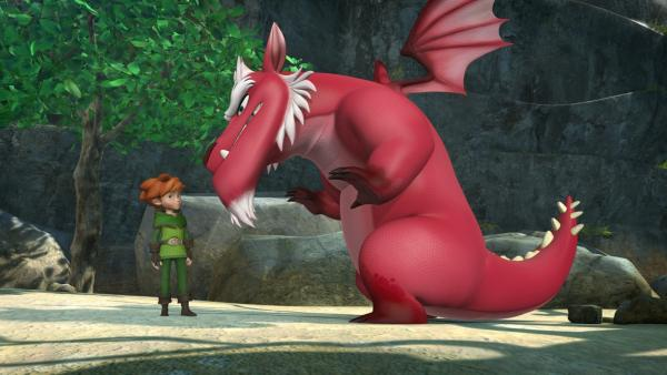 Robin Hood steht dem Sherwood-Drachen Derke gegenüber. | Rechte: ZDF/Method Animation/DQ Entertainment/Fabrique d'images/ZDF Enterprises/De Agostini