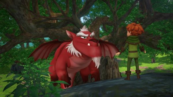 Robin Hood steht dem Sherwood-Drachen gegenüber. | Rechte: ZDF/Method Animation/DQ Entertainment/Fabrique d'images/ZDF Enterprises/De Agostini