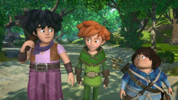 Little John, Robin Hood und Tuck schließen Freundschaft. Alle drei  kämpfen mutig für die gleiche Sache: Gerechtigkeit. | Rechte: ZDF/Method Animation/DQ Entertainment/Fabrique d'images/ZDF Enterprises/De Agostini
