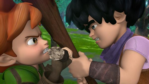 Im Sherwood Forest begegnen sich Little John und Robin Hood zum ersten Mal nicht gerade freundschaftlich. | Rechte: ZDF/Method Animation/DQ Entertainment/Fabrique d'images/ZDF Enterprises/De Agostini