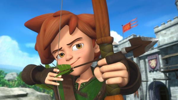Robin Hood in Aktion. Keiner kann so gut mit Pfeil und Bogen umgehen wie er. | Rechte: ZDF/Method Animation/DQ Entertainment/Fabrique d'images/ZDF Enterprises/De Agostini