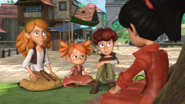 Es war einmal... Scarlett erzählt den Kindern die Geschichte von Robin Hood und wie damals alles angefangen hat. | Rechte: ZDF/Method Animation/DQ Entertainment/Fabrique d'images/ZDF Enterprises/De Agostini