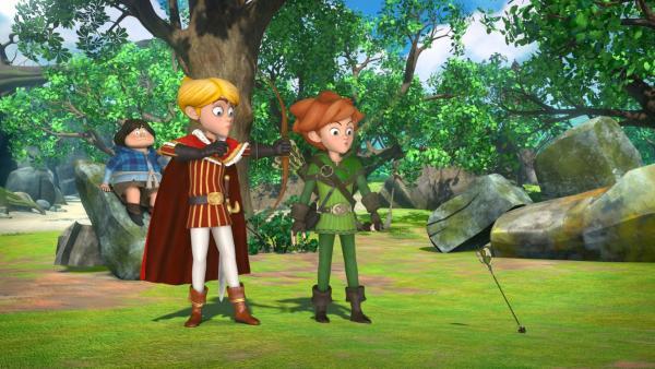 Prinz John hat sich verliebt und will für seine Angebetete zum Abenteurer werden. Dazu nimmt er Unterricht bei Robin Hood. Tuck schaut zu. | Rechte: ZDF/Method Animation/DQ Entertainment/Fabrique d'images/ZDF Enterprises/De Agostini