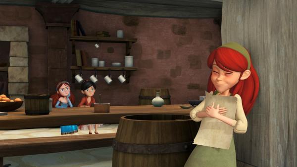 Marian ist eifersüchtig. Sie beobachtet mit Scarlett Eleanor, die davon träumt, schon bald ihrem Helden Robin Hood zu begegnen. | Rechte: ZDF/Method Animation/DQ Entertainment/Fabrique d'images/ZDF Enterprises/De Agostini