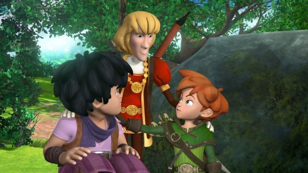 Der Minnesänger ist begeistert von Robin Hoods Heldentaten. | Rechte: ZDF/Method Animation/DQ Entertainment/Fabrique d'images/ZDF Enterprises/De Agostini