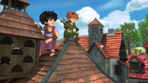Hoch oben auf den Dächern Nottingham: Robin und Little John. | Rechte: ZDF/Method Animation/DQ Entertainment/Fabrique d'images/ZDF Enterprises/De Agostini