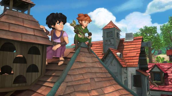 Hoch oben auf den Dächern Nottingham: Robin und Little John. | Rechte: ZDF/Method Animation/DQ Entertainment/Fabrique d'images/ZDF Enterprises/De Agostini